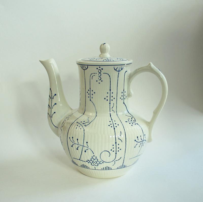 kaffee kanne villeroy boch dresden strohblumen indisch blau copenhague antik ebay. Black Bedroom Furniture Sets. Home Design Ideas